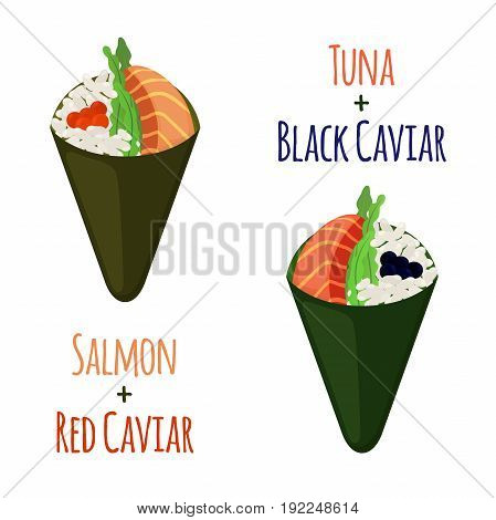 Temaki tasty food set. Raw fish - tuna, salmon, caviar, rice and nori in sushi. Made in cartoon flat style