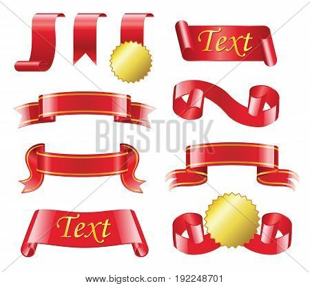 Award Ribbon- realistic modern vector set of different red bands with copy space for your text. White background. Use this quality clip art elements for your design. Receive or give badge, medal.
