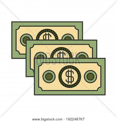 colorful silhouette of money bills set vector illustration
