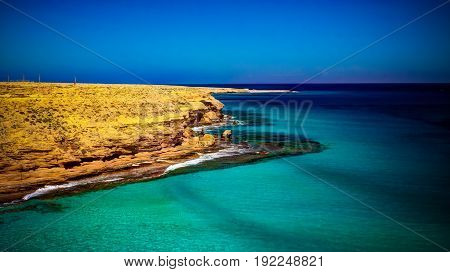 Landscape with sand Ageeba beach near Mersa Matruh Egypt