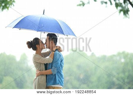Side view portrait of affectionate Asian couple embracing under umbrella in rain, copy space