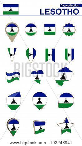 Lesotho Flag Collection. Big Set For Design.
