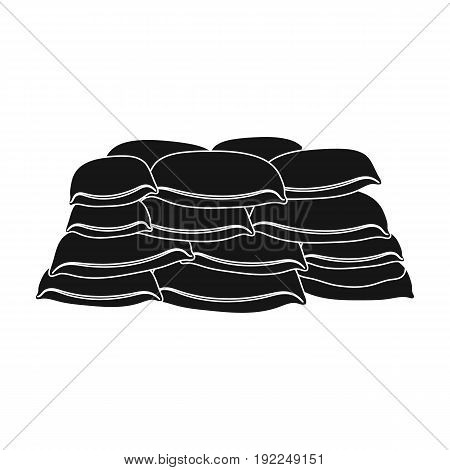 Barricade of bags of sand.Paintball single icon in black style vector symbol stock illustration .