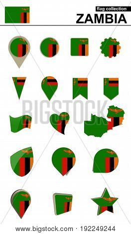 Zambia Flag Collection. Big Set For Design.