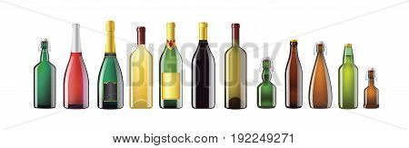 Alcohol Bottles - realistic vector set of different shape glass objects. White background. Use these quality clip art elements to present bar products - champagne, wine, whiskey, bourbon, beer.