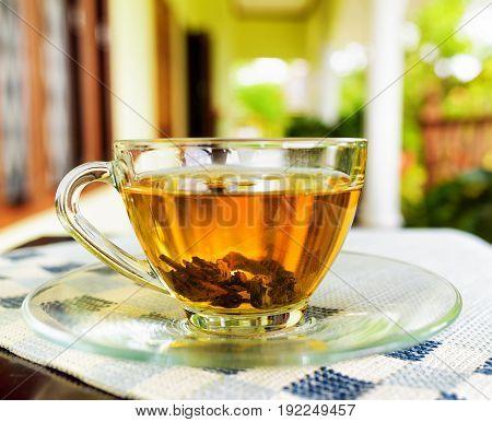 Cup Of Tea On Summer Terrace