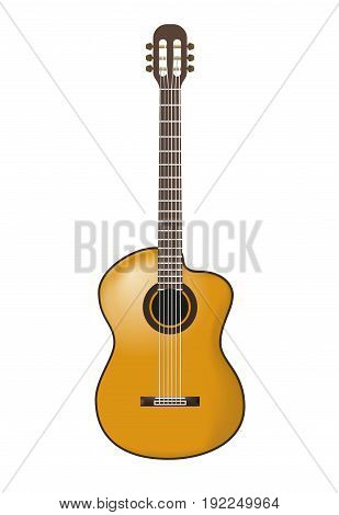 Classical acoustic guitar. Realistic vector illustration isolated on white background