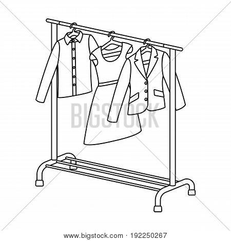 A hanger with things in the wardrobe.Making movie single icon in outline style vector symbol stock illustration .