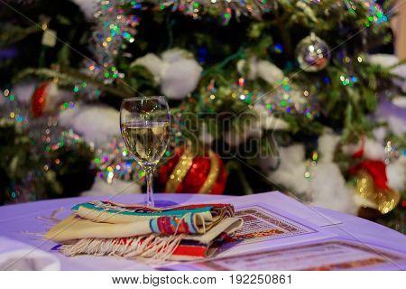 Beautiful photo of the Jewish Hupa wedding putdoor The wine of the wedding on Jewish traditions