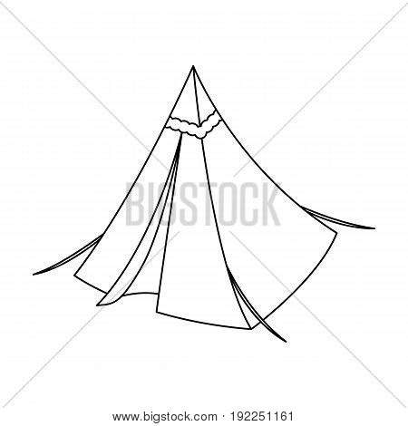 Tent cone.Tent single icon in outline style vector symbol stock illustration .