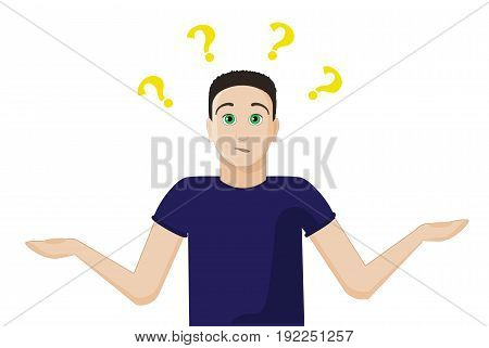 The guy does not know the answer to the question and spread his hands. He is confused. Signs of the question overhead. Interrogative look. Emotions of the unknowing person