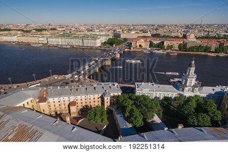 Aerial view of center of Saint Petersburg. Admiralty, Dvortsovaya square, Hermitage