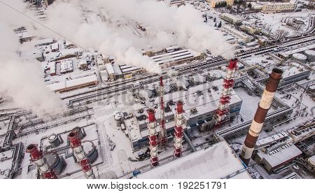 Aerial view of smokestacks in industrial area