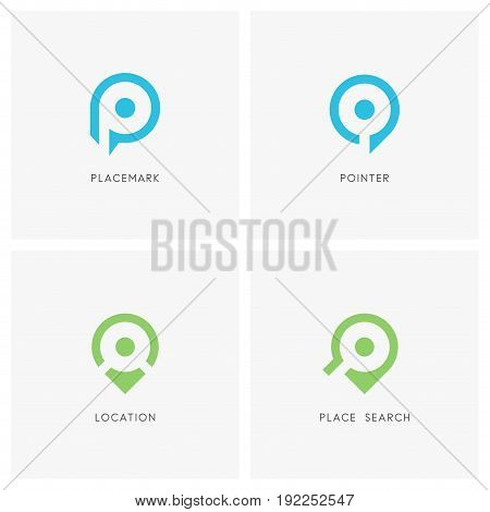 Placemark pointer logo set. Address symbol and place search sign - location, destination and navigation icons.