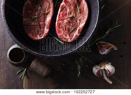 Pork Steak With Rosemary, Garlic And Pepper , Top View