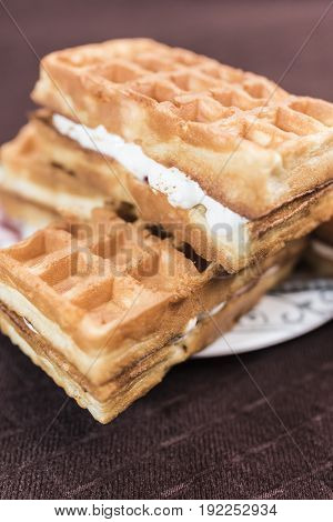 Viennese waffles with vanilla-cream filling are on a saucer on a dark brown background a vertical frame close-up.