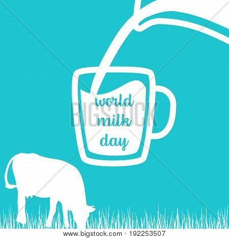 World milk day Cow, Milk pouring from a jar in cup, silhouettes on Blue background. Concept idea for diary, Cattle farm. For logo, tag, banner, advertising, prints, design element, label