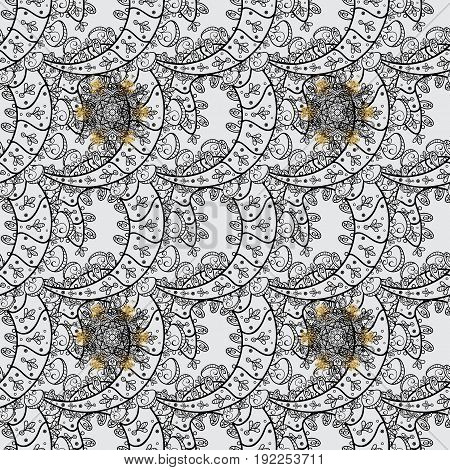 Seamless abstract background with repeating elements. Gray and golden pattern. Elegant vector classic pattern.
