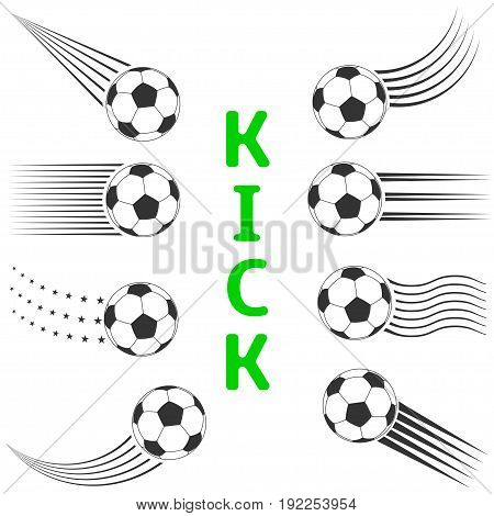 Football Soccer ball set with motion trails