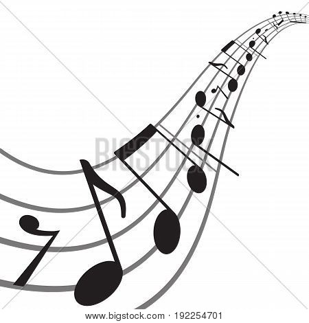 Music notes on wavy staff. Abstract vector background