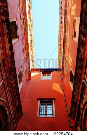 High angle perspective of venetian architecture looking up.