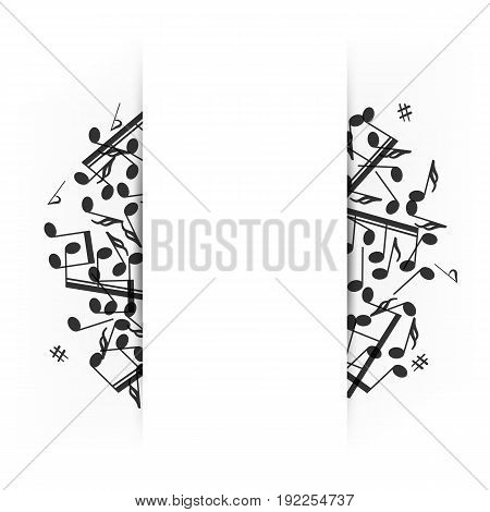 Music banner with shadow. Musical background clef and notes. Place for your text. Graphic design element for web, flyers, prints. Abstract vector illustration.