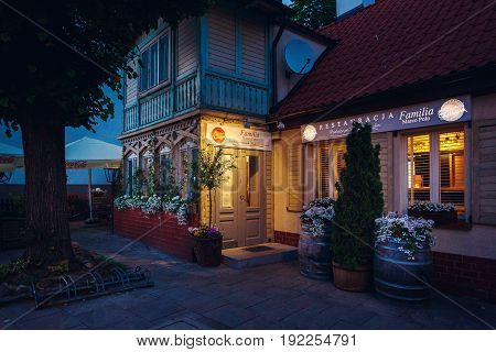Sopot Poland - June 10 2017: The facade of the Familia Marco Polo restaurant on the shore of Baltic sea at night