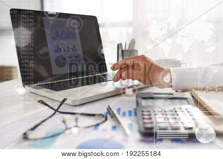Close-up shot of unrecognizable white collar worker analyzing results of accomplished work with help of laptop, collage
