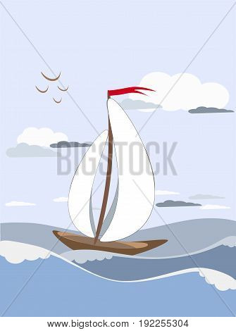 Sailboat sails on the waves with white sails with a red flag