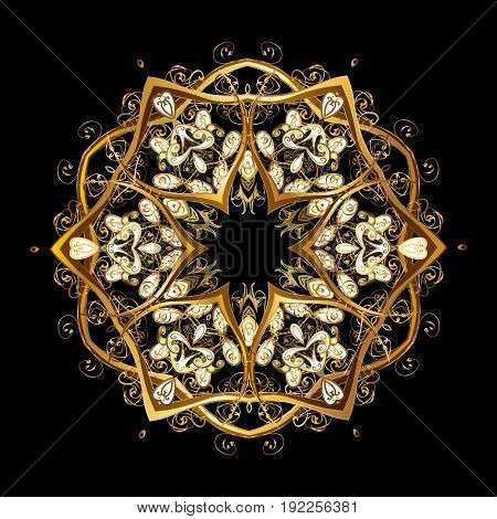 Vector golden snowflakes on a black background. Abstract minimal background.