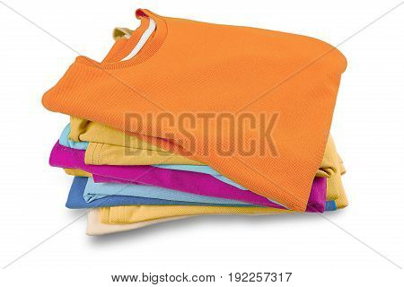 Stack garments color colors white background closeup