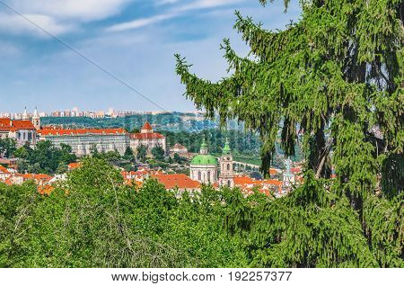 Prague Skyline, Czech Republic. Mala Strana Old District Of Bohemia Capital City With Saint Nicholas