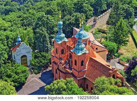Prague, Czech Republic. Cathedral Of St. Lawrence On Petrin Hill-view From Above