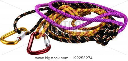 Hank sling carabiners color red white background