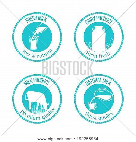 Set of round stamps with milk symbols and text Cow, Milk pouring from a bottle in glass, milk can. Silhouettes on Blue background. Concept idea for diary, farm. For logo, banner, advertising, label