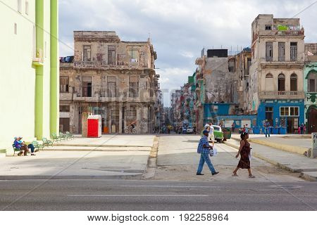 Havana Cuba - January 21 2017: Havana Malecon. The Malecon (officially Avenida de Maceo) is a broad esplanade roadway and seawall which stretches for 8 km (5 miles) along the coast in Havana