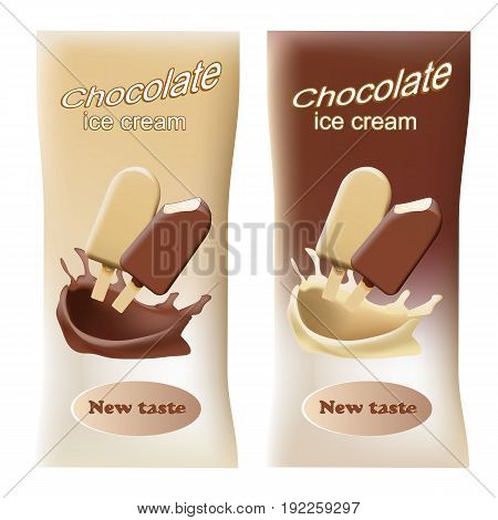 Packaging for milk chocolate ice cream isolated on white background. Vector illustration.