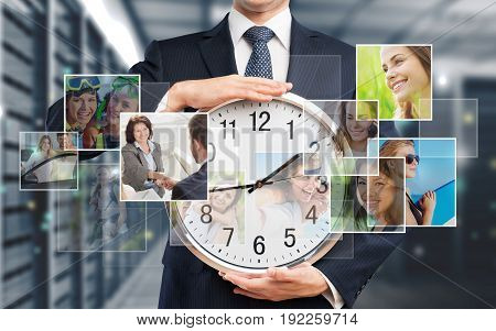 Business man clock suit businessman numbers white