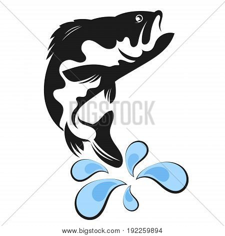Fish silhouette and water drops vector  illustration