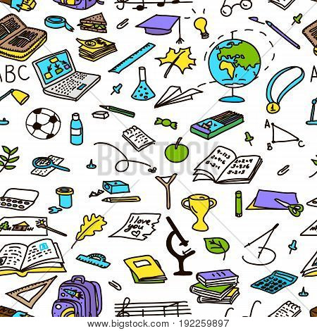 back to school hand drawn seamless pattern in color, sketch, doodle, vector objects isolated on white. eraser, globe, glue, goggles, graduate, lamp, laptop, leaves, pen, pencil pin For decoration prints tags