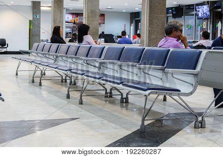 Empty Chairs On Departure Lounge Of Aeroporto Internacional De Campo Grande