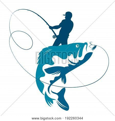 Fisherman catches fish silhouette for vector design