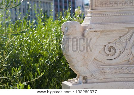 owl statue at the academy of athens