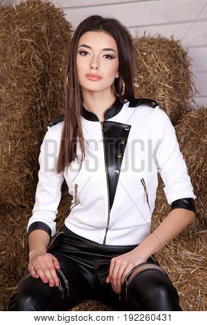 Beautiful Young Girl In A Dress In The Hay, Leather Garments, Na
