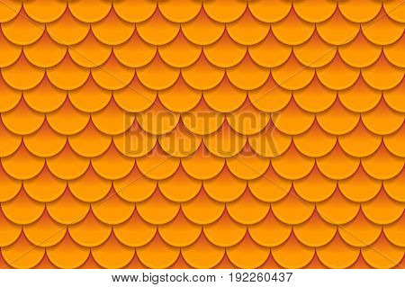 Seamless pattern of colorful orange fish scales. Fish scales, dragon skin, Japanese carp, dinosaur skin, pimples, reptile, snake skin, shingles. Vector illustration