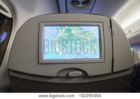MATO GROSSO DO SUL BRAZIL - JUNE 15 2017: Navigation map with flight plan on a Azul Airlines onboard tv.