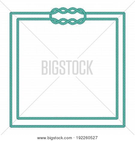 Sailor rope knot picture frame. Blank poster template with nautical border. Graphic design element. Wedding invitation, baby shower, birthday card, scrapbooking. Isolated vector illustration.