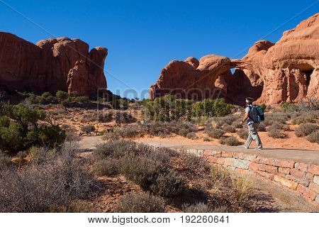 Double Arch Trail At Arches National Park In Moab, Utah Usa