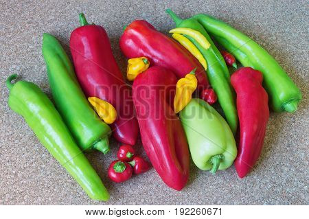 Mixture of sizes, colors and tastes - sweet and hot peppers