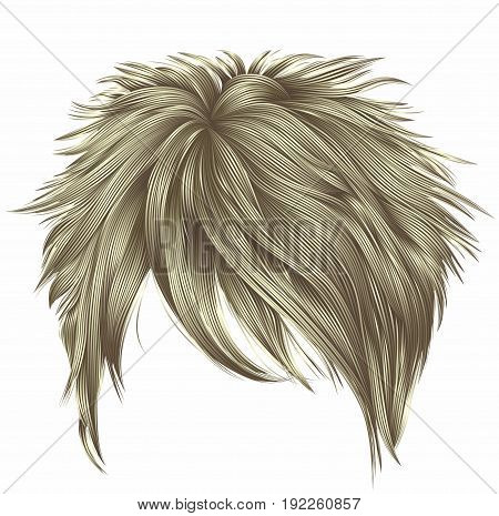 trendy woman short hairs blond colors . fringe . fashion beauty style . realistic 3d .